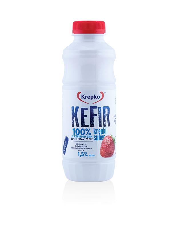 Kefir Krepki suhec/jagoda 500g